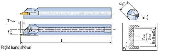 Державка Taegutec TGIFL 25-4C-T5.5 для обработки внутренних мелких канавок, Face Grooving & Turning фото 2