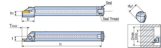 Державка Taegutec TTFIR 25-3T12 42-60 для проточки внутренних канавок, Int. Face Grooving & Turning фото 2